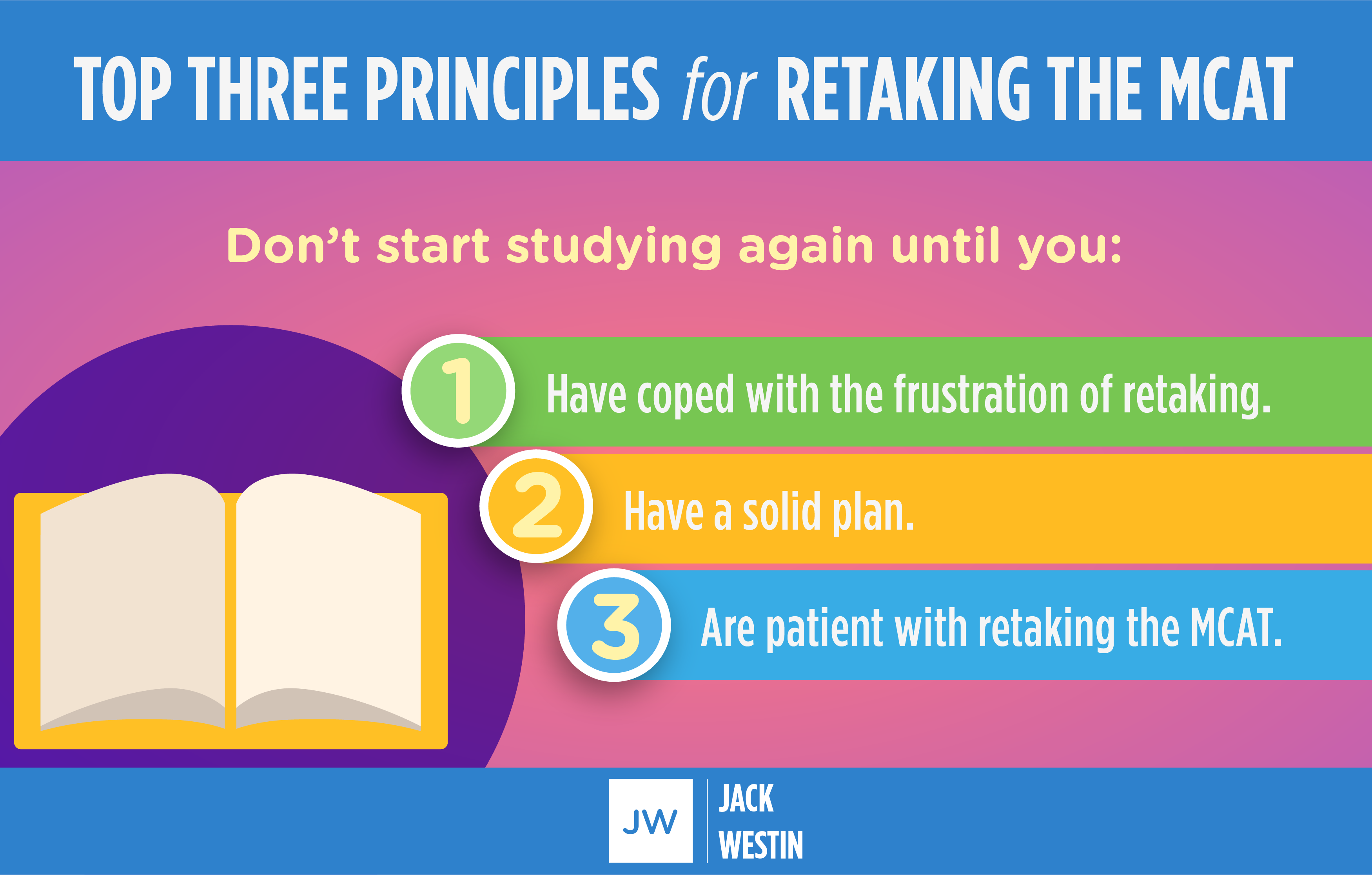 If you decided to retake MCAT this is the top three principles.